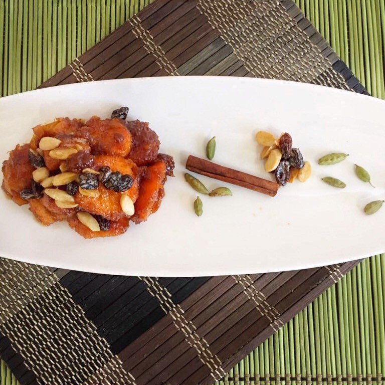 Candied Sweet Potatoes with Jaggery & Cardamom