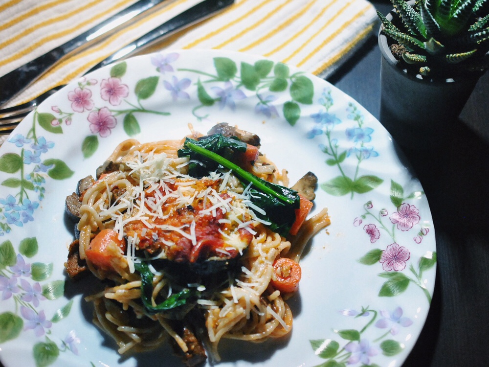 Pasta with Spicy, Eggless Eggplant Parmigiana and Roasted Vegetables